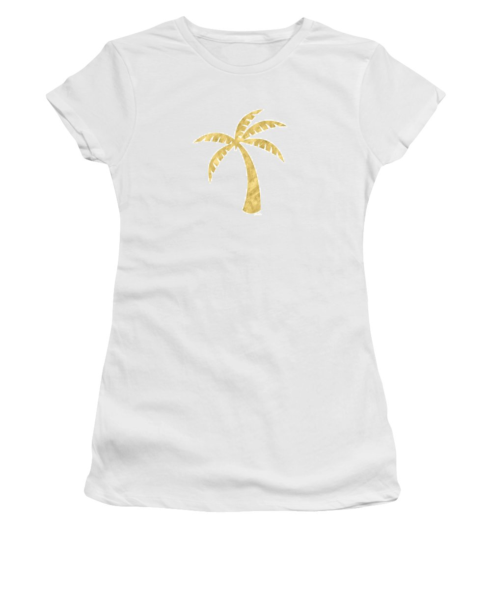 Palm Tree Women's T-Shirt featuring the mixed media Gold Palm Tree- Art by Linda Woods by Linda Woods