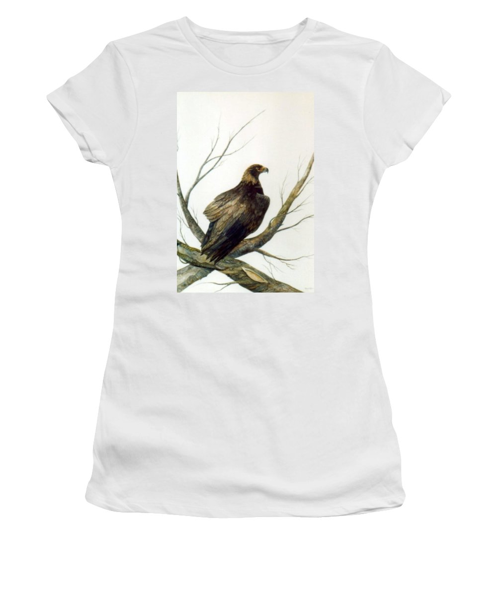 Eagle Women's T-Shirt (Athletic Fit) featuring the painting Golden Eagle by Ben Kiger
