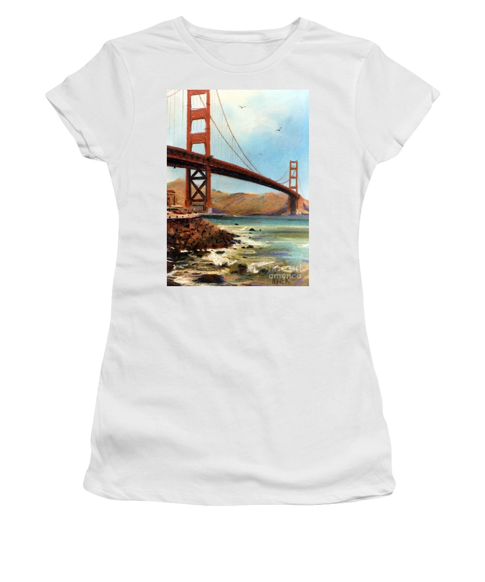 Golden Gate Bridge Women's T-Shirt (Athletic Fit) featuring the painting Golden Gate Bridge Looking North by Donald Maier