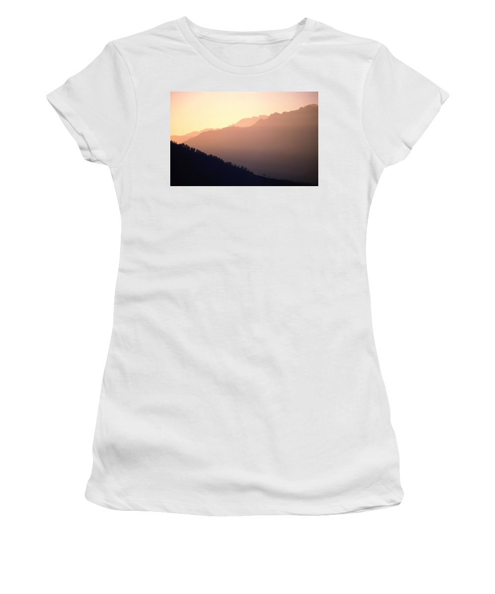 Langtang Women's T-Shirt (Athletic Fit) featuring the photograph Golden Mountains by Patrick Klauss