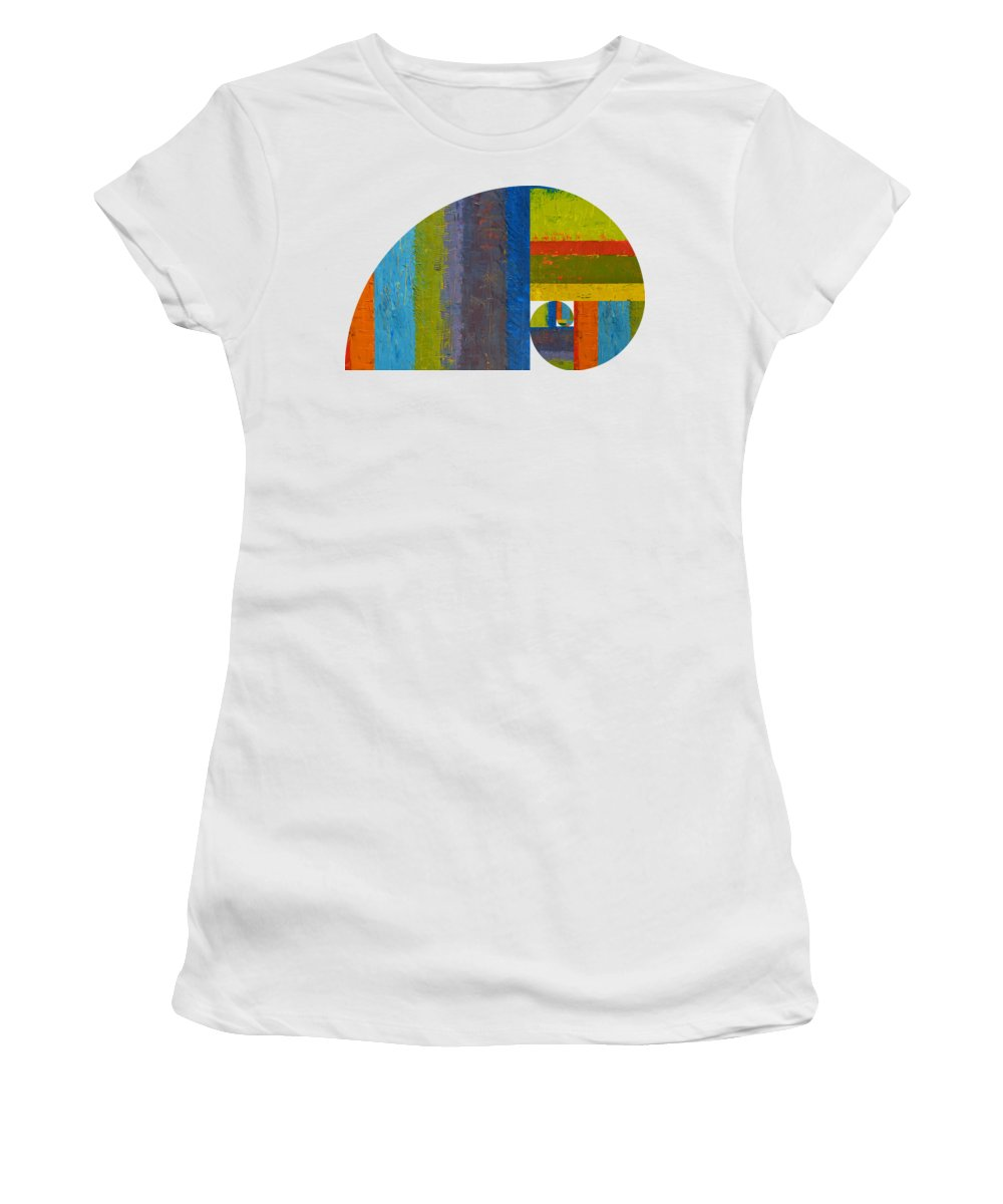 Fibonacci Women's T-Shirt (Athletic Fit) featuring the digital art Golden Spiral Study by Michelle Calkins