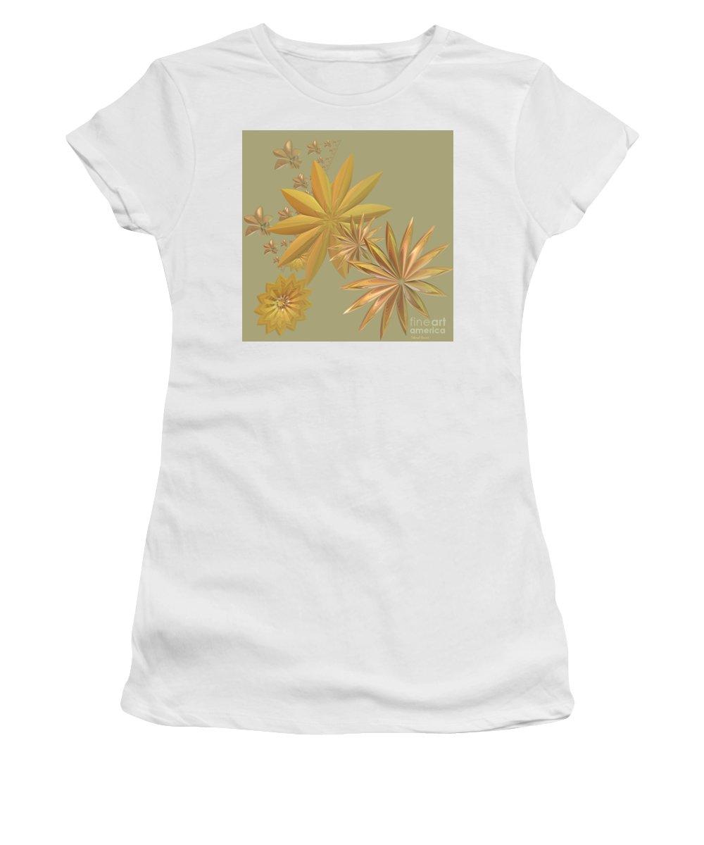 Stars Women's T-Shirt (Athletic Fit) featuring the digital art Golden Stars by Deborah Benoit