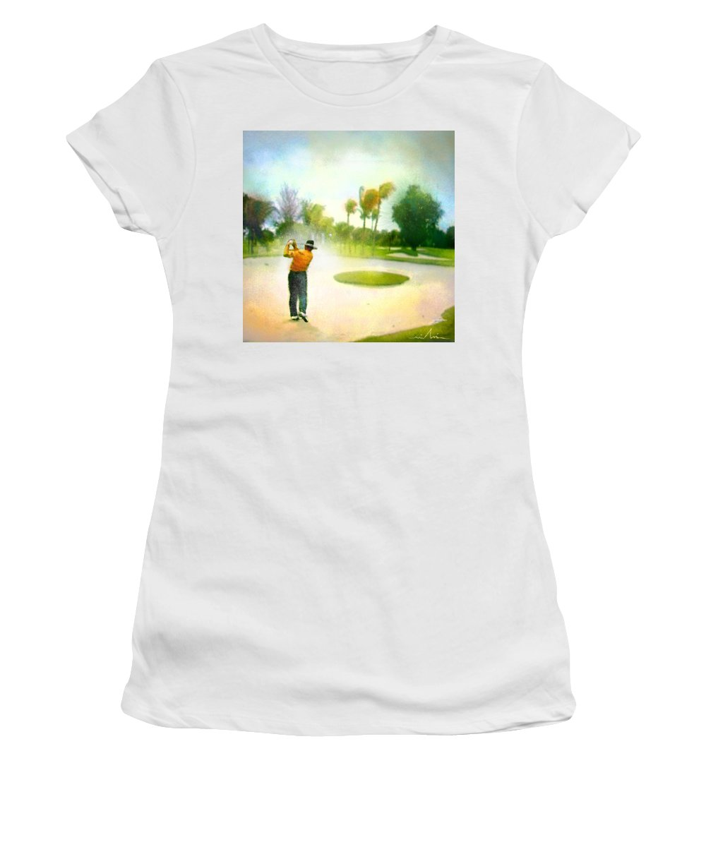Golf Women's T-Shirt (Athletic Fit) featuring the painting Golf At The Blue Monster In Doral Florida 02 by Miki De Goodaboom
