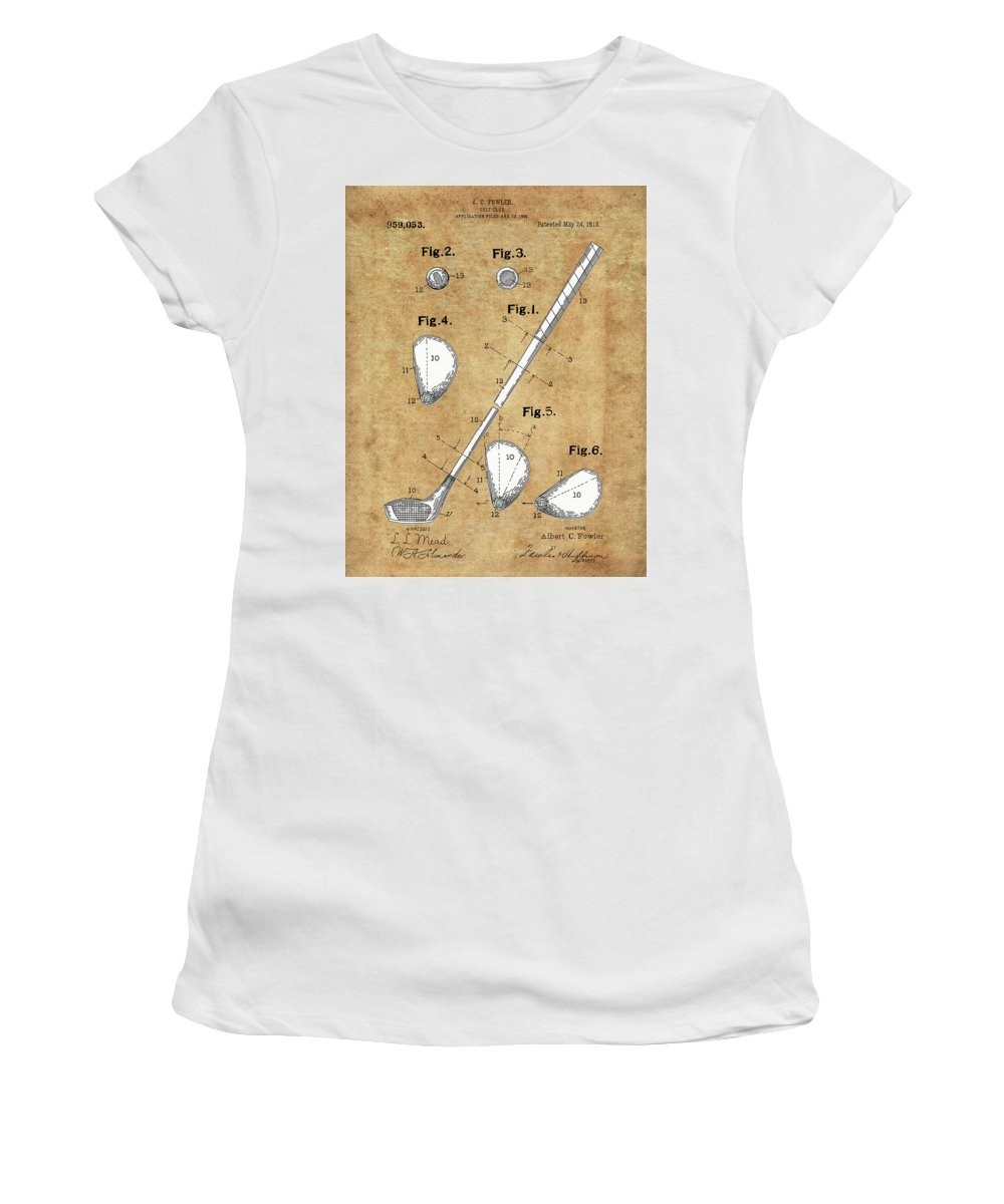 Golf Women's T-Shirt (Athletic Fit) featuring the digital art Golf Club Patent Drawing Vintage by Bekim Art