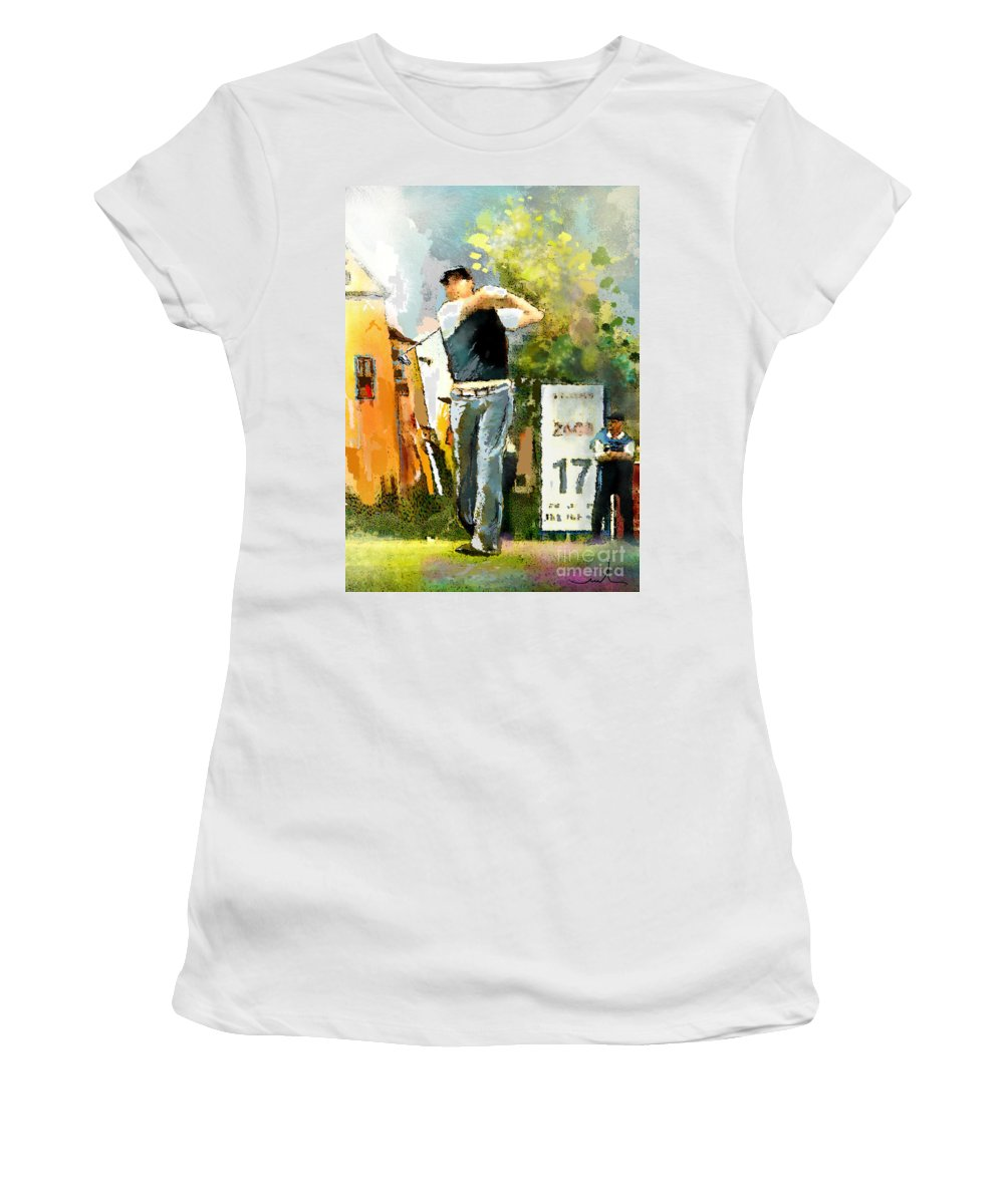 Golf Women's T-Shirt featuring the painting Golf In Club Fontana Austria 01 Dyptic Part 01 by Miki De Goodaboom