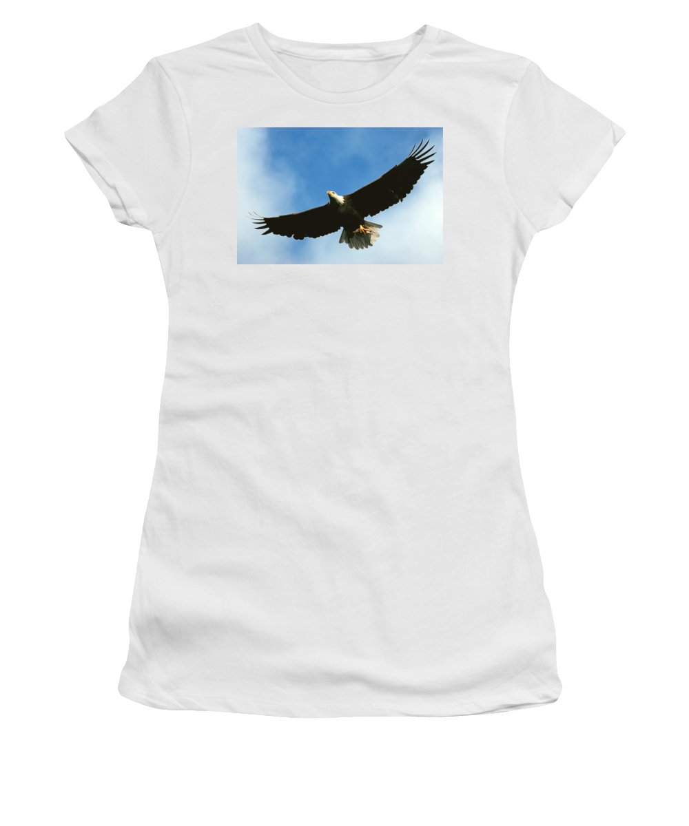Bald Eagle Women's T-Shirt (Athletic Fit) featuring the photograph Good Catch by Randall Ingalls