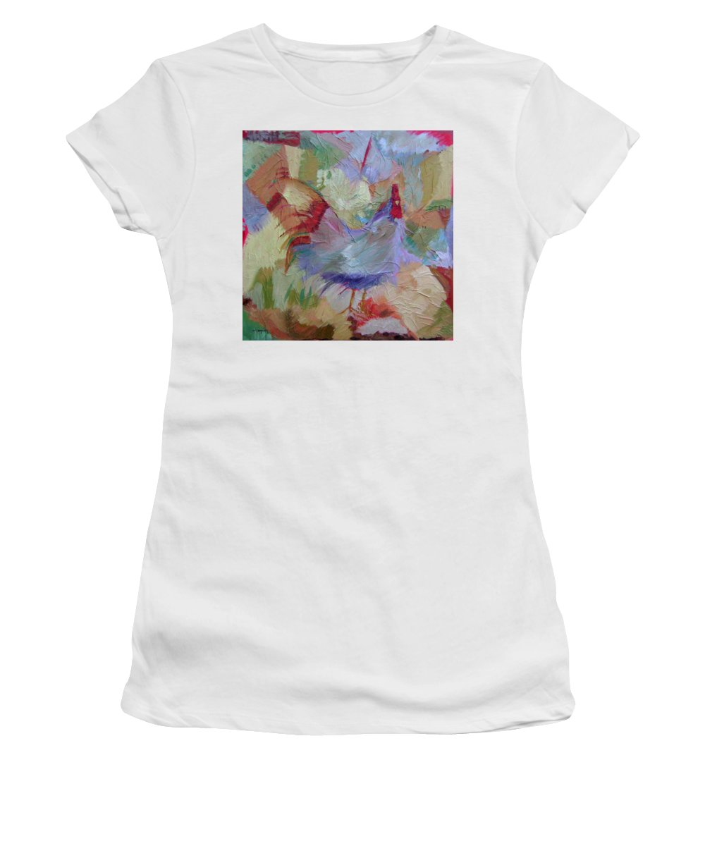Chicken Paintings Women's T-Shirt (Athletic Fit) featuring the painting Good Morning by Ginger Concepcion