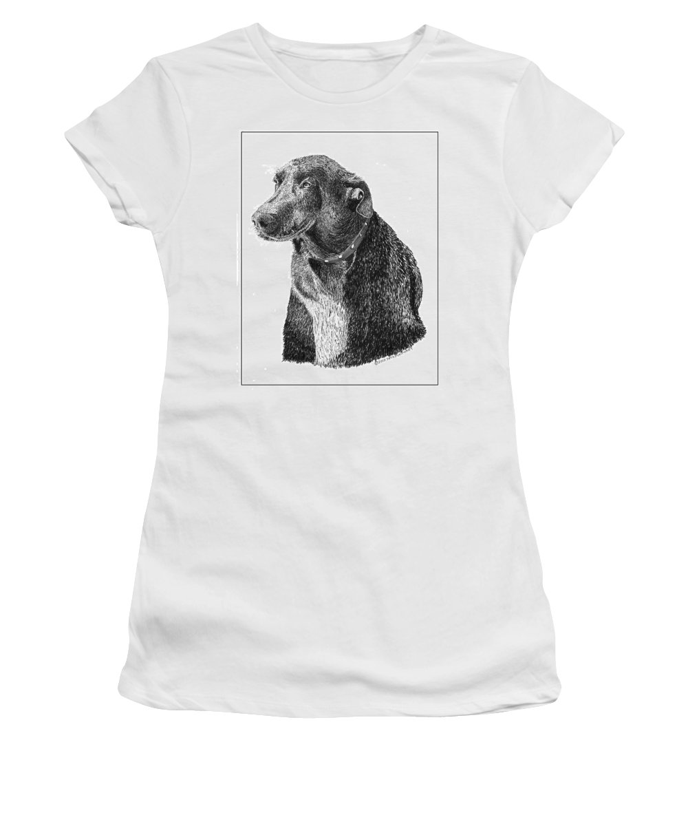 Framed Prints Of Man�s Best Friend. Framed Pen & Ink Art Of Winer Dogs. Ink Art Of Pets. Art Of Dogs And Cats.pen & Ink Drawings Of Dogs. Art In Pen & Ink Of Pets Women's T-Shirt (Athletic Fit) featuring the drawing Good Old Charlie by Jack Pumphrey