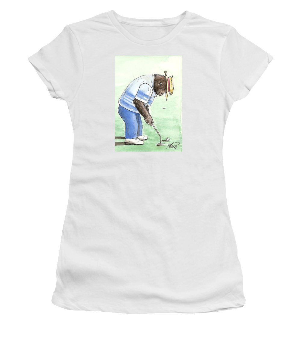 Golf Women's T-Shirt (Athletic Fit) featuring the painting Got You Now by George I Perez