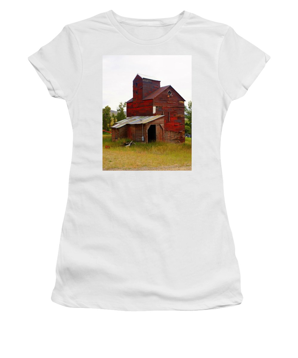 Grane Elevator Women's T-Shirt featuring the photograph Grain Elevator by Marty Koch