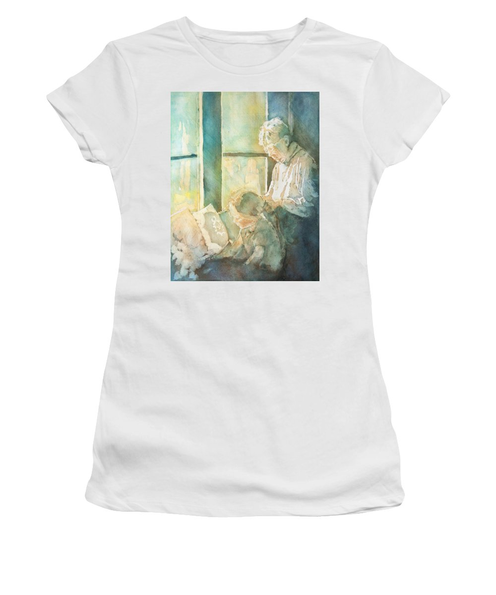 Family Women's T-Shirt (Athletic Fit) featuring the painting Gramdma Braids by Jenny Armitage