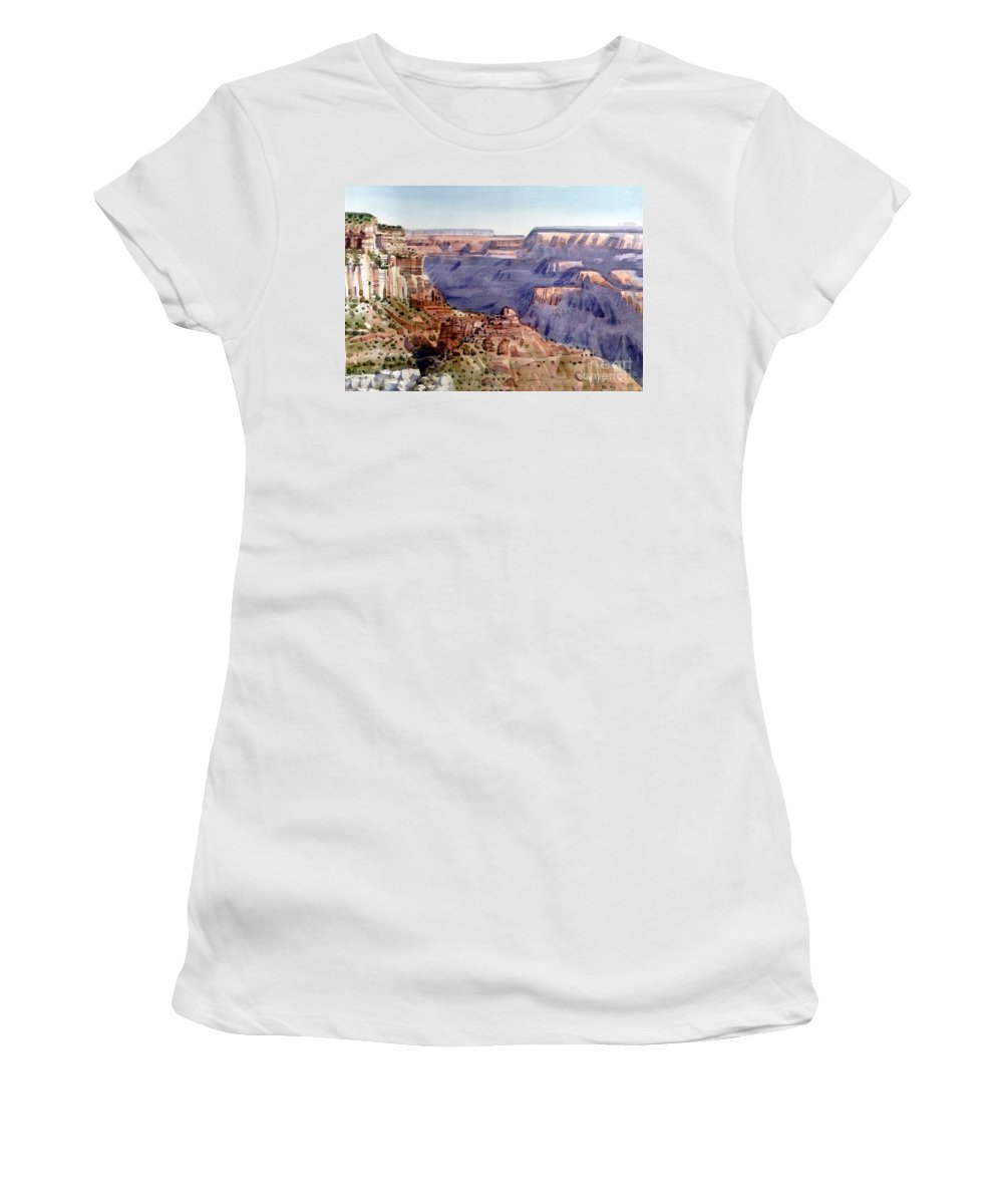 Grand Canyon Women's T-Shirt (Athletic Fit) featuring the painting Grand Canyon Morning by Donald Maier
