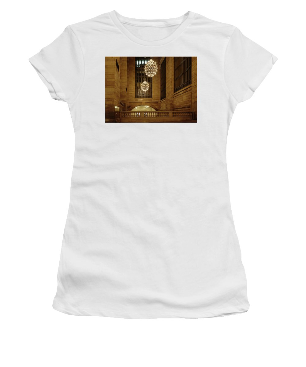 Nyc Women's T-Shirt featuring the photograph Grand Central Terminal Light Reflections by Charles A LaMatto