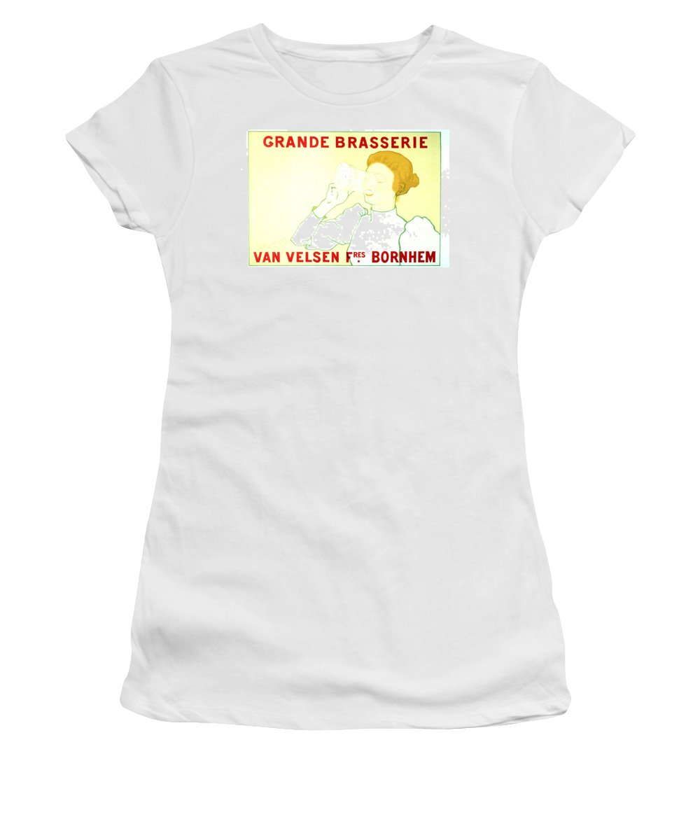 Vintage Women's T-Shirt featuring the mixed media Grande Brasserie - Bornhem, Belgium - Vintage Advertising Poster by Studio Grafiikka