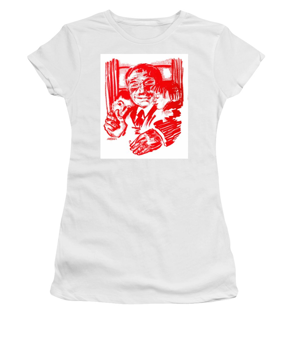 Grandpa Women's T-Shirt (Athletic Fit) featuring the digital art Grandpa's Lap by Seth Weaver