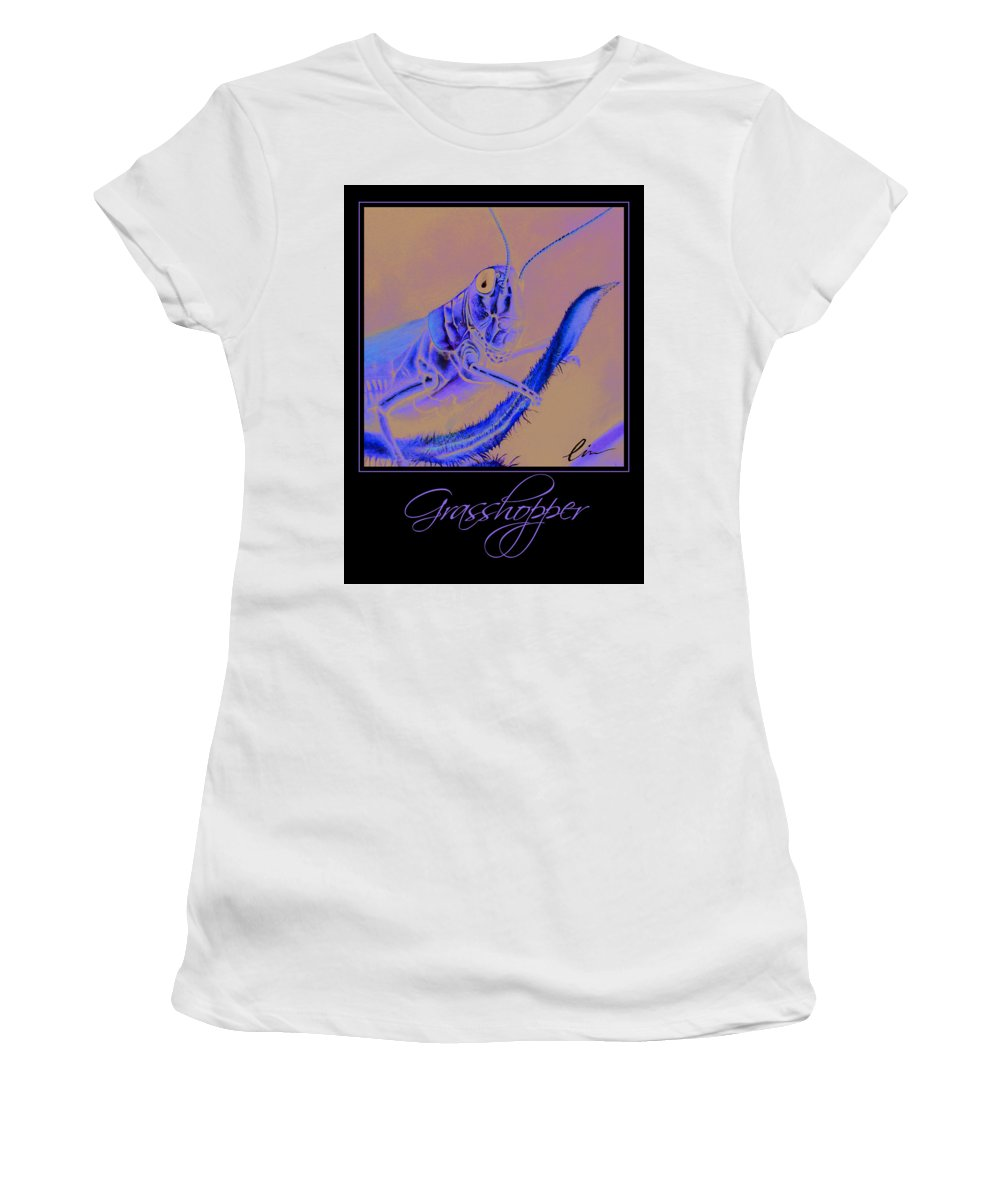 Grasshopper Women's T-Shirt (Athletic Fit) featuring the painting Grasshopper Poster by Cindy D Chinn