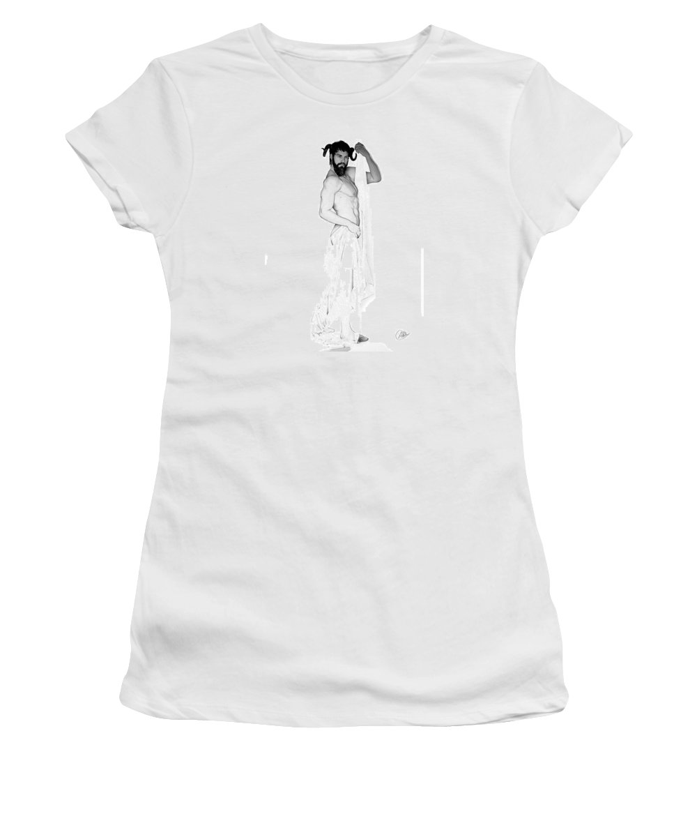Dionysus Women's T-Shirt featuring the drawing Dionysus Pencil Drawing by Quim Abella
