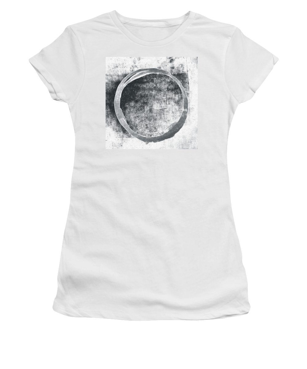 Gray Women's T-Shirt featuring the painting Gray Enso by Julie Niemela
