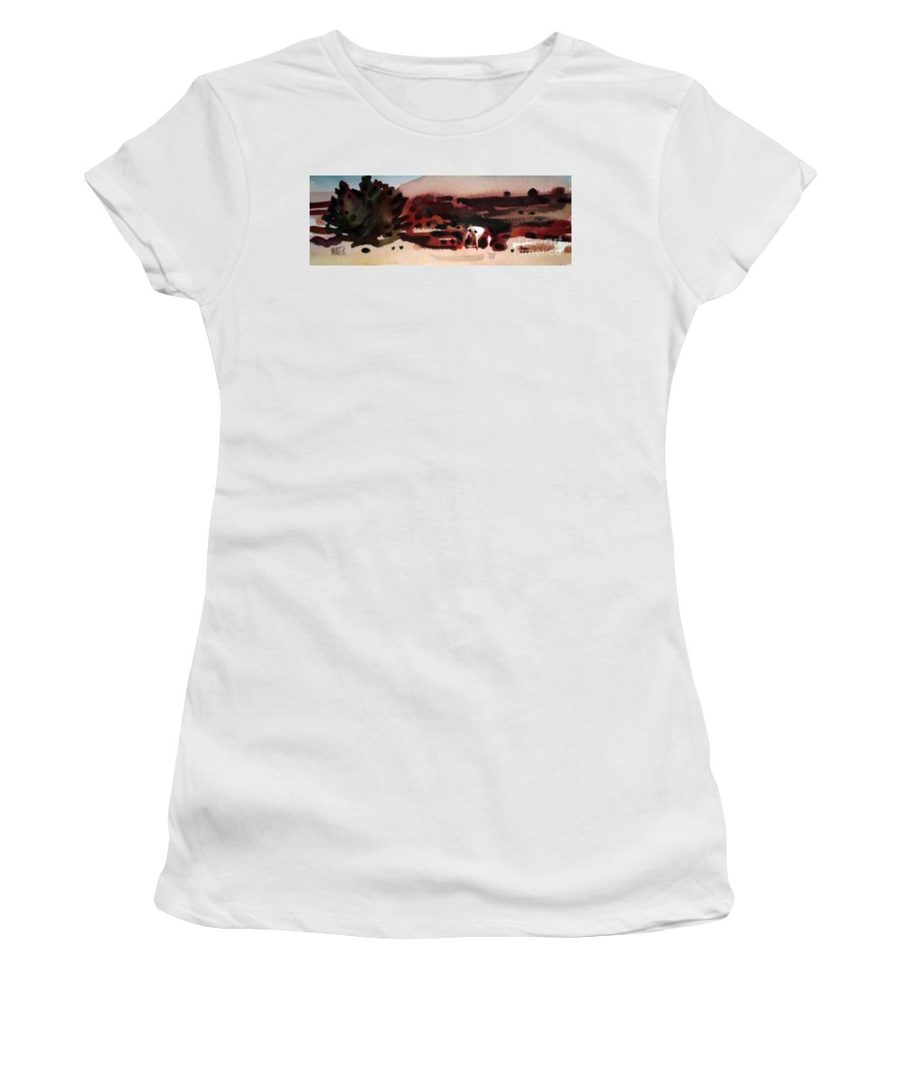 Horse Women's T-Shirt (Athletic Fit) featuring the painting Grazing Pinto by Donald Maier