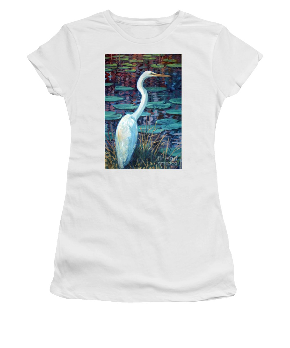 Egret Women's T-Shirt (Athletic Fit) featuring the painting Great White Egret by Donald Maier
