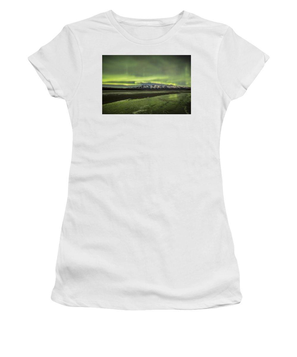 Aurora Women's T-Shirt featuring the photograph Green Ice by Matt Skinner