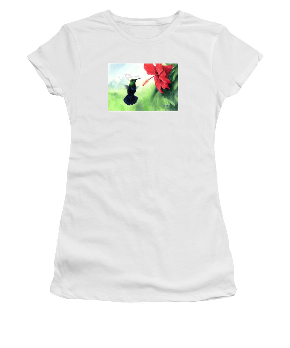Chris Cox Women's T-Shirt (Athletic Fit) featuring the painting Green-throated Carib Hummingbird And Red Hibiscus by Christopher Cox