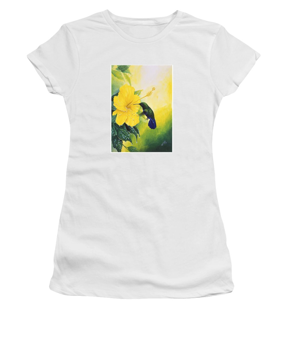 Chris Cox Women's T-Shirt (Athletic Fit) featuring the painting Green-throated Carib Hummingbird And Yellow Hibiscus by Christopher Cox