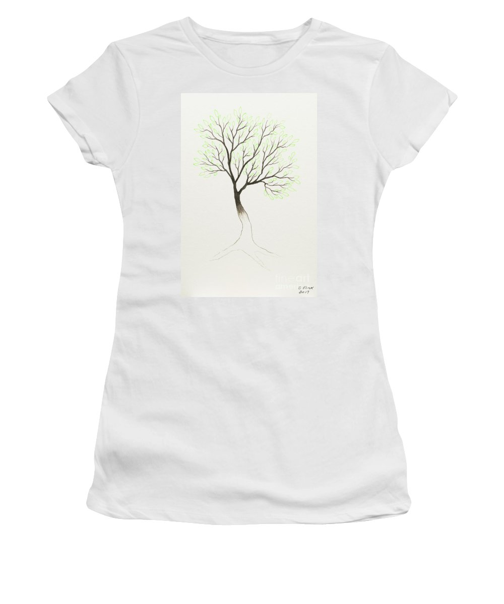 Tree Women's T-Shirt featuring the painting Green Tree by Stefanie Forck