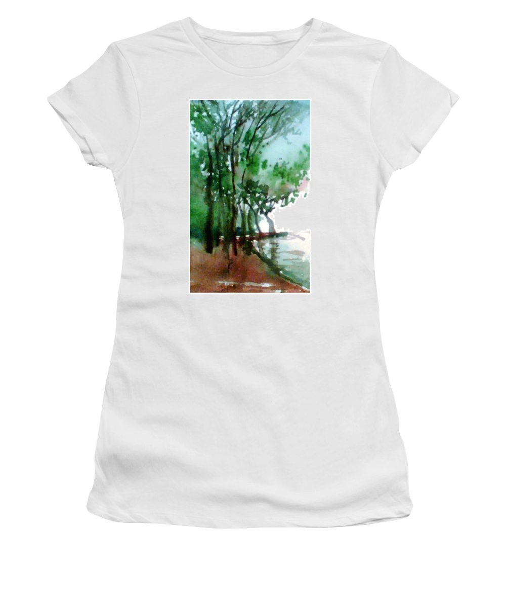 Water Color Women's T-Shirt (Athletic Fit) featuring the painting Greens by Anil Nene