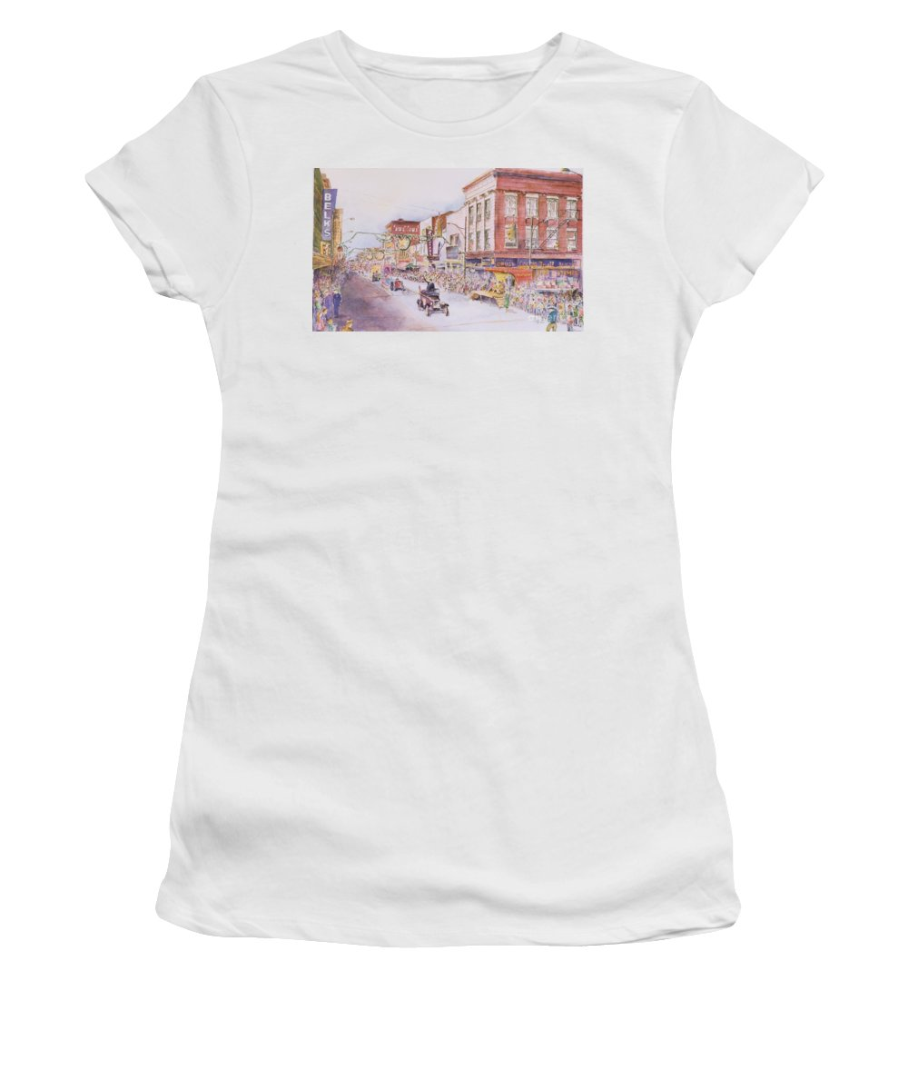 Print Greensboro History Women's T-Shirt featuring the painting Greensboro Christmas Parade 1960 by Maggie Clark