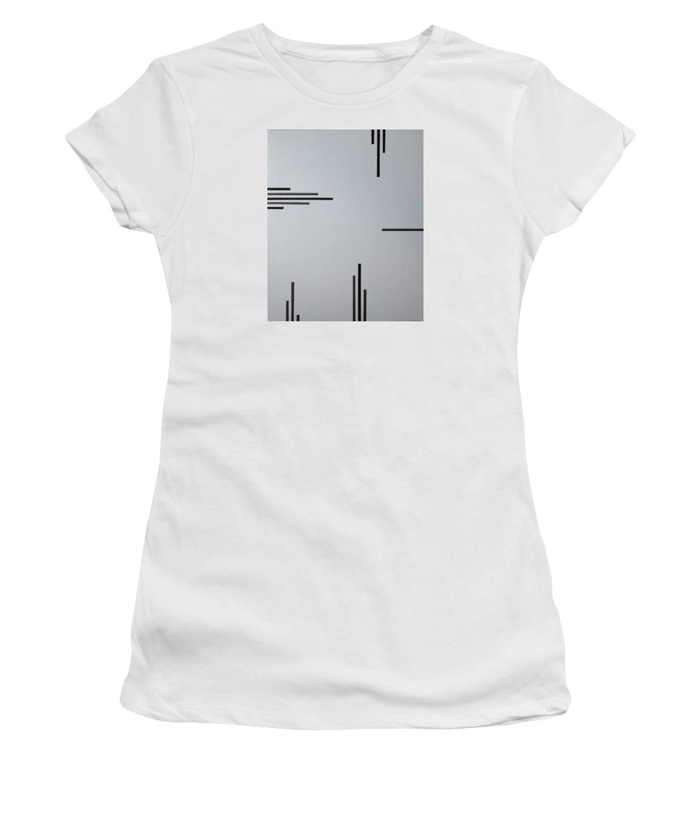 Black Women's T-Shirt (Athletic Fit) featuring the painting Grey Space by Anders Hingel