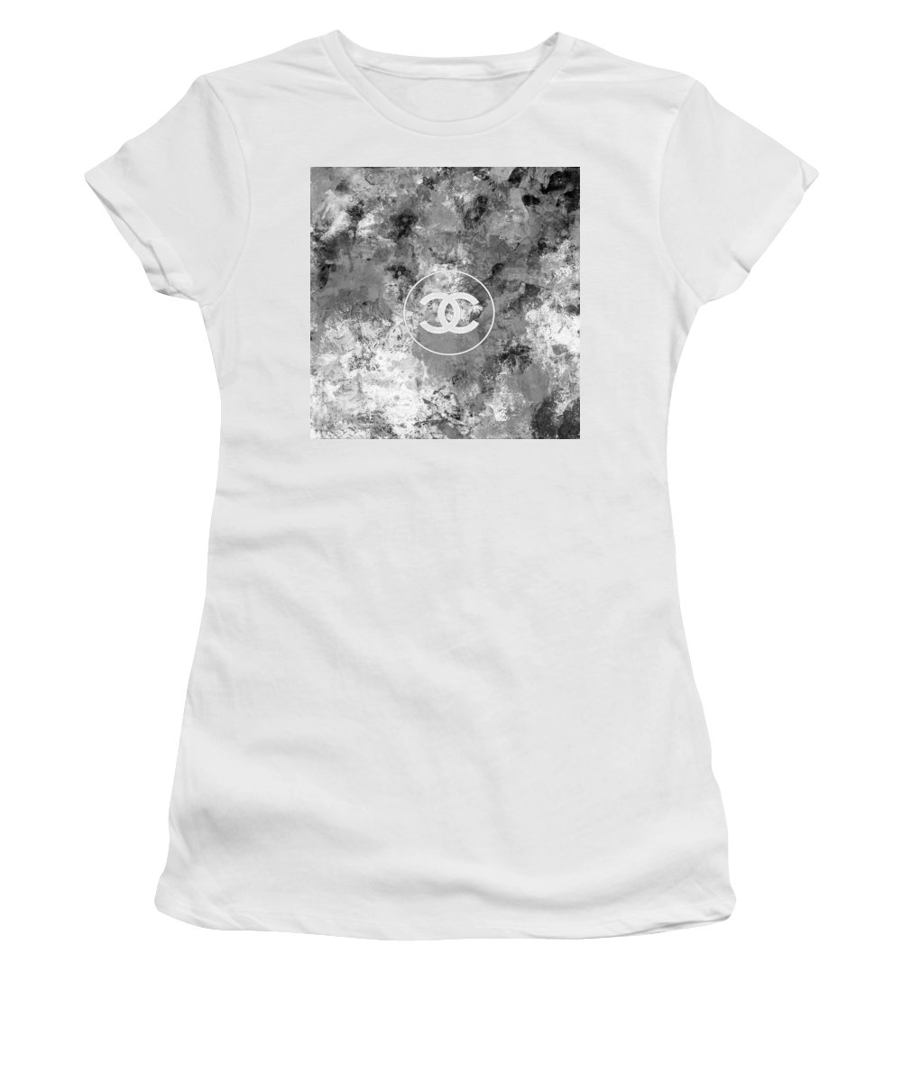 Chanel Women's T-Shirt (Athletic Fit) featuring the painting Grey White Black Chanel Logo Print by Del Art