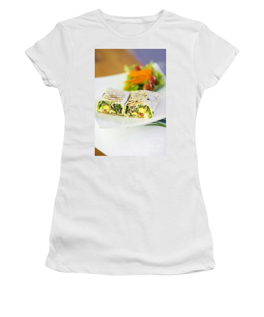 Conscious Women's T-Shirt (Athletic Fit) featuring the photograph Grilled Vegetable And Salad Wrap by Jacek Malipan