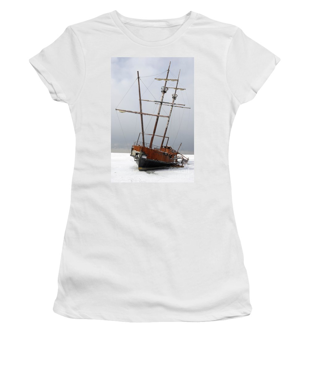 Ship Women's T-Shirt featuring the photograph Grounded Ship In Frozen Water by Oleksiy Maksymenko