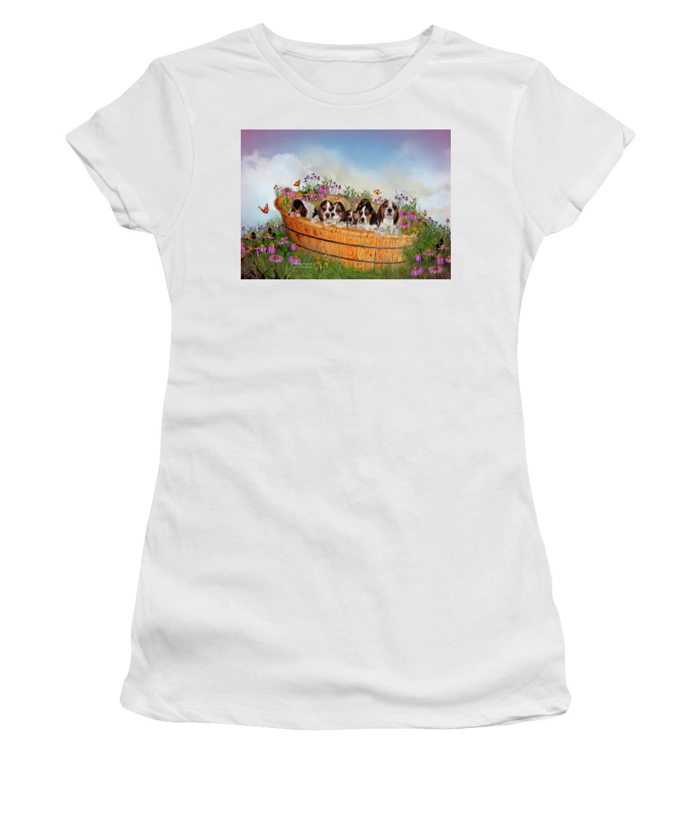 Beagle Puppies Women's T-Shirt (Athletic Fit) featuring the mixed media Growing Puppies by Carol Cavalaris