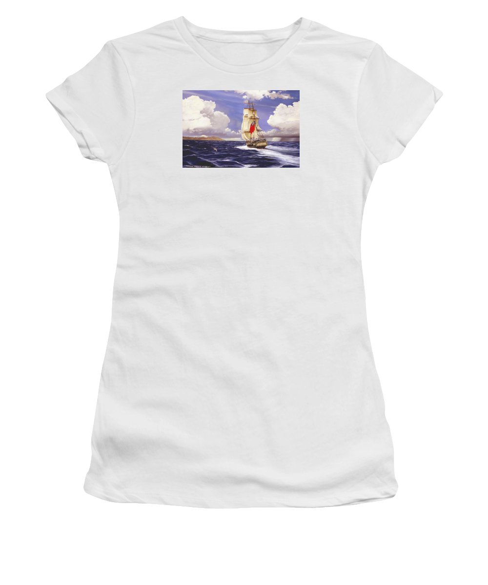 Marine Women's T-Shirt featuring the painting H. M. S. Bounty At Tahiti by Marc Stewart