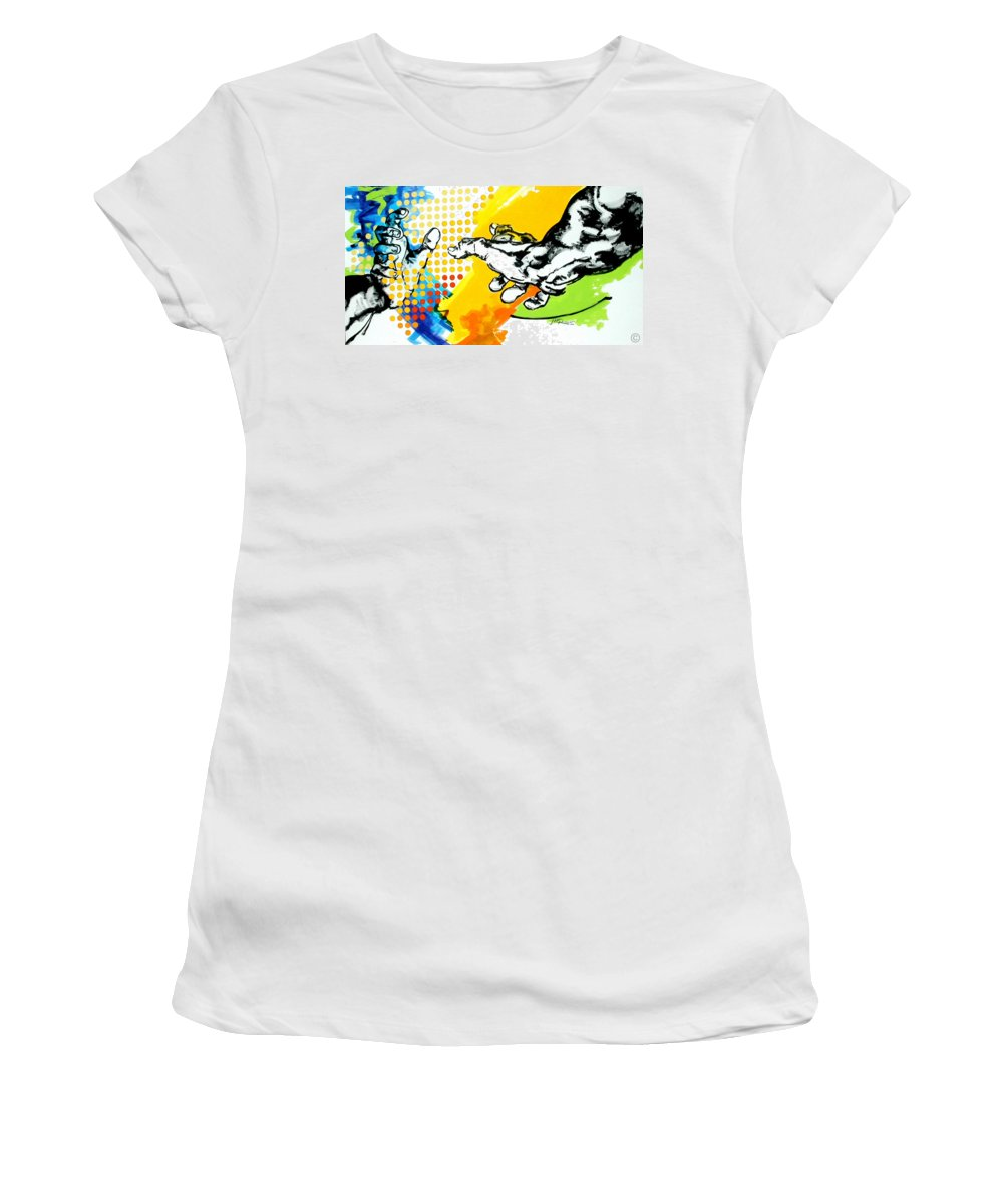 Classic Women's T-Shirt (Athletic Fit) featuring the painting Hands by Jean Pierre Rousselet