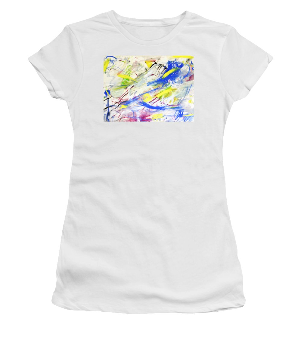 Abstract Women's T-Shirt (Athletic Fit) featuring the painting Happy Chaos by Lee Serenethos