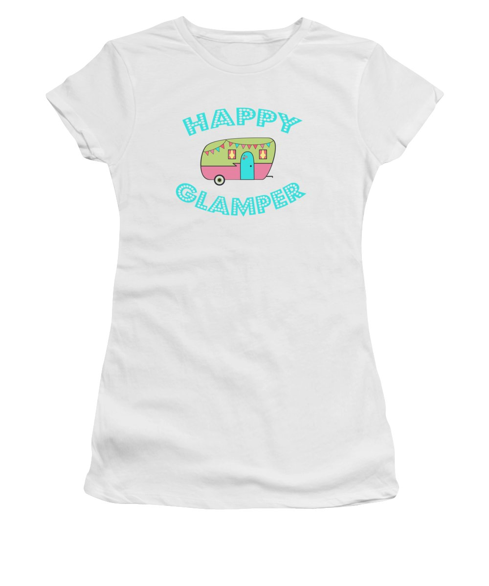 Happy Glamper Women's T-Shirt featuring the digital art Happy Glamper 1 by Lisa Bradley
