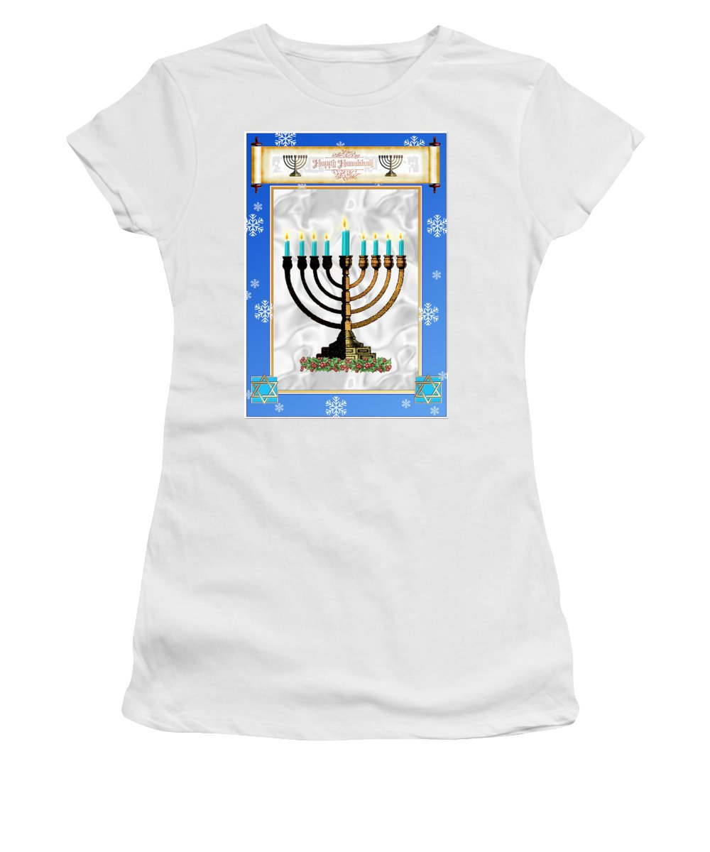 Hanukkah Women's T-Shirt featuring the digital art Happy Hanukkah by Melissa A Benson