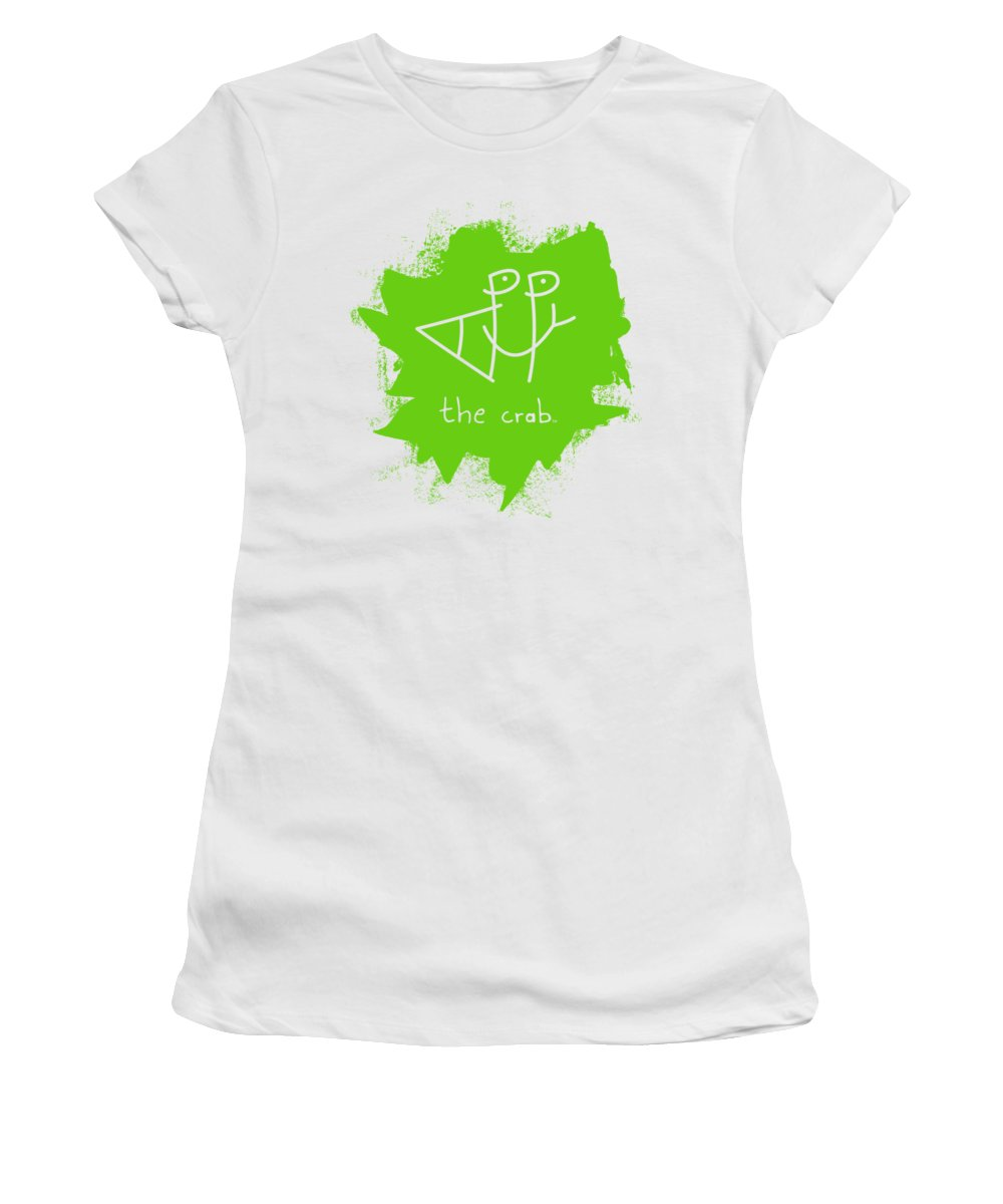 Happy Women's T-Shirt featuring the mixed media Happy The Crab - Green by Chris N Rohrbach