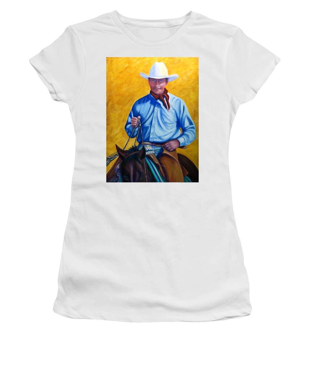 Cowboy Women's T-Shirt (Junior Cut) featuring the painting Happy Trails by Shannon Grissom