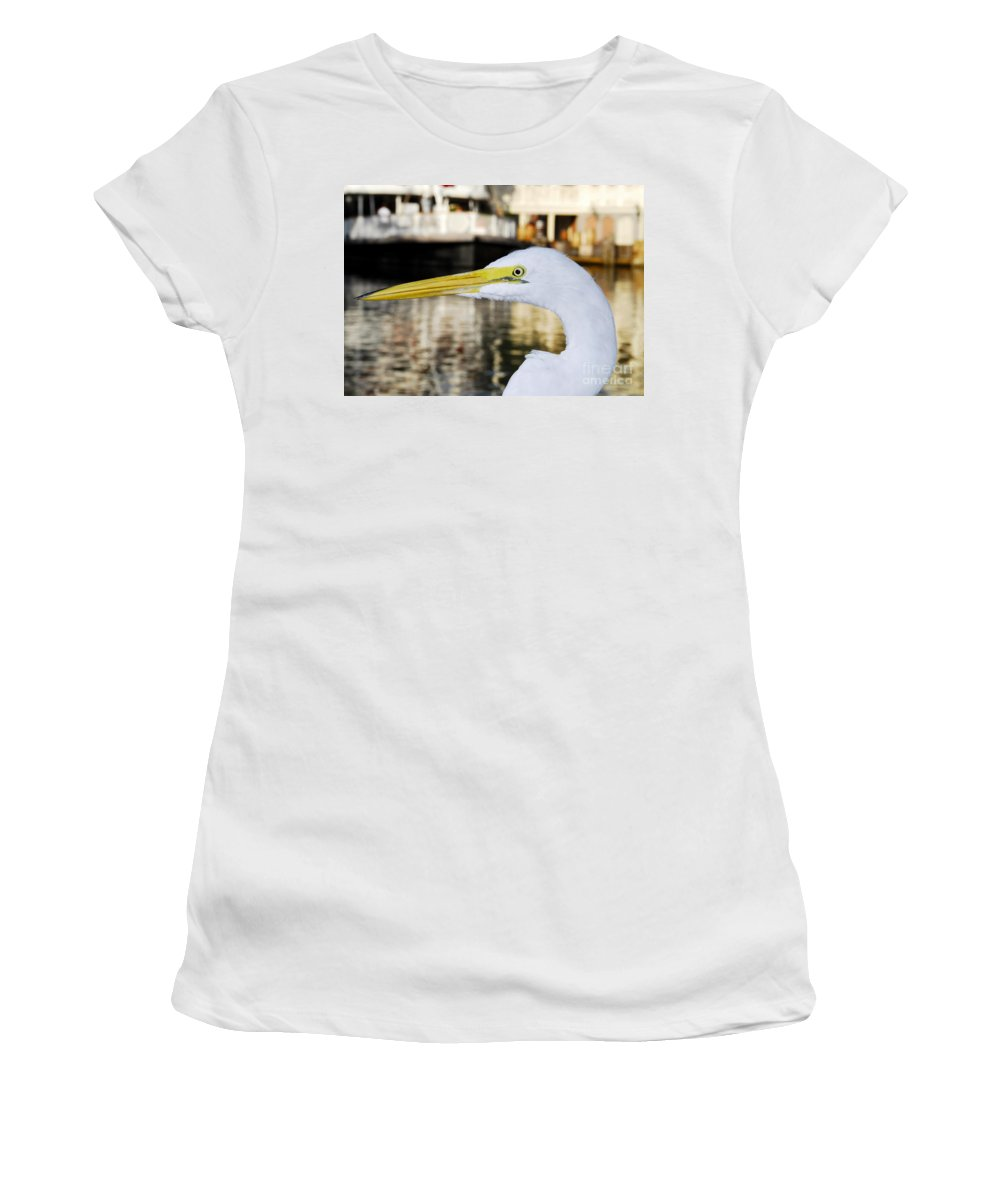 Egret Women's T-Shirt (Athletic Fit) featuring the photograph Harbor Egret by David Lee Thompson