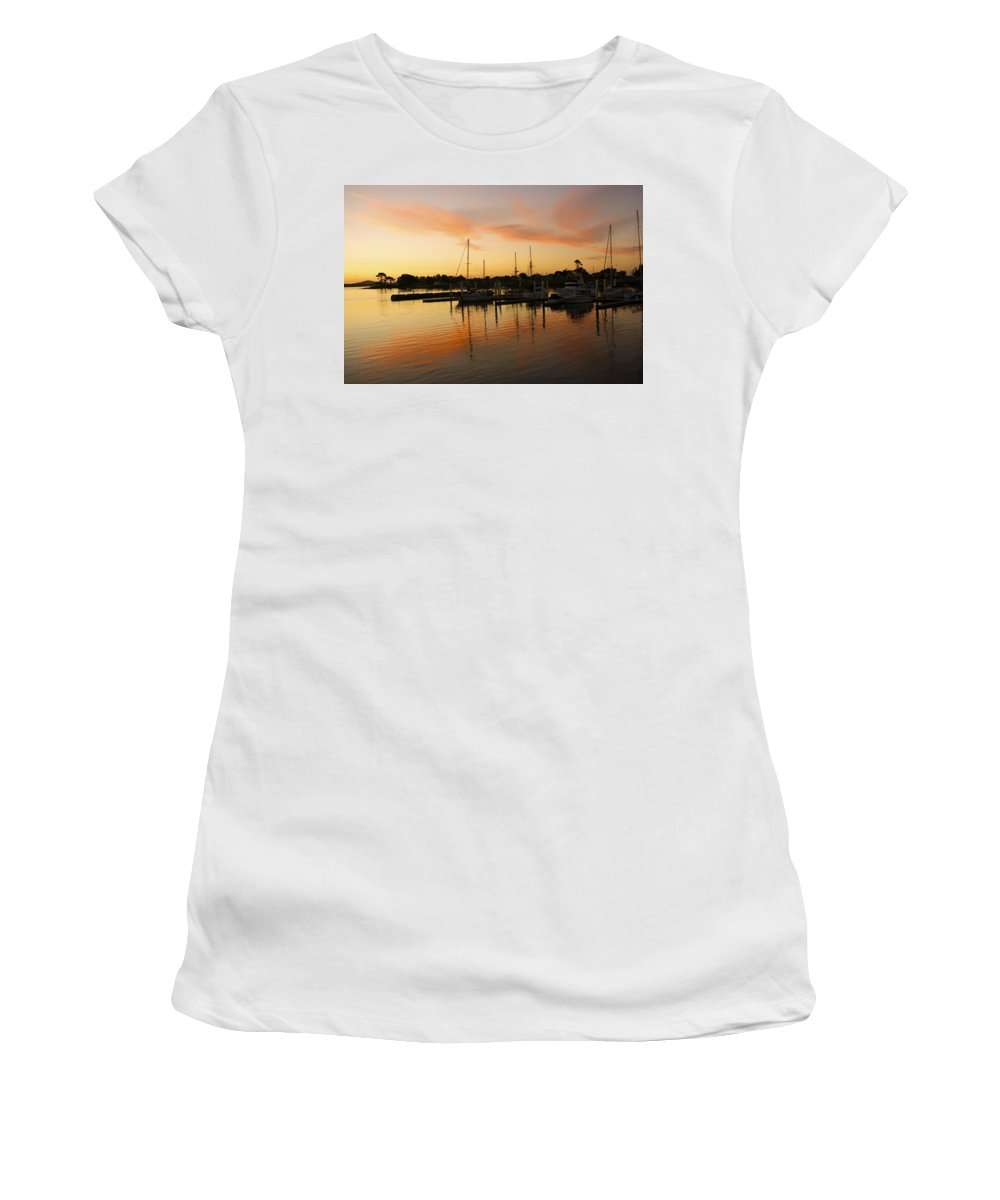 Sunset Women's T-Shirt (Athletic Fit) featuring the photograph Harbour Sun Set by Kathryn Potempski