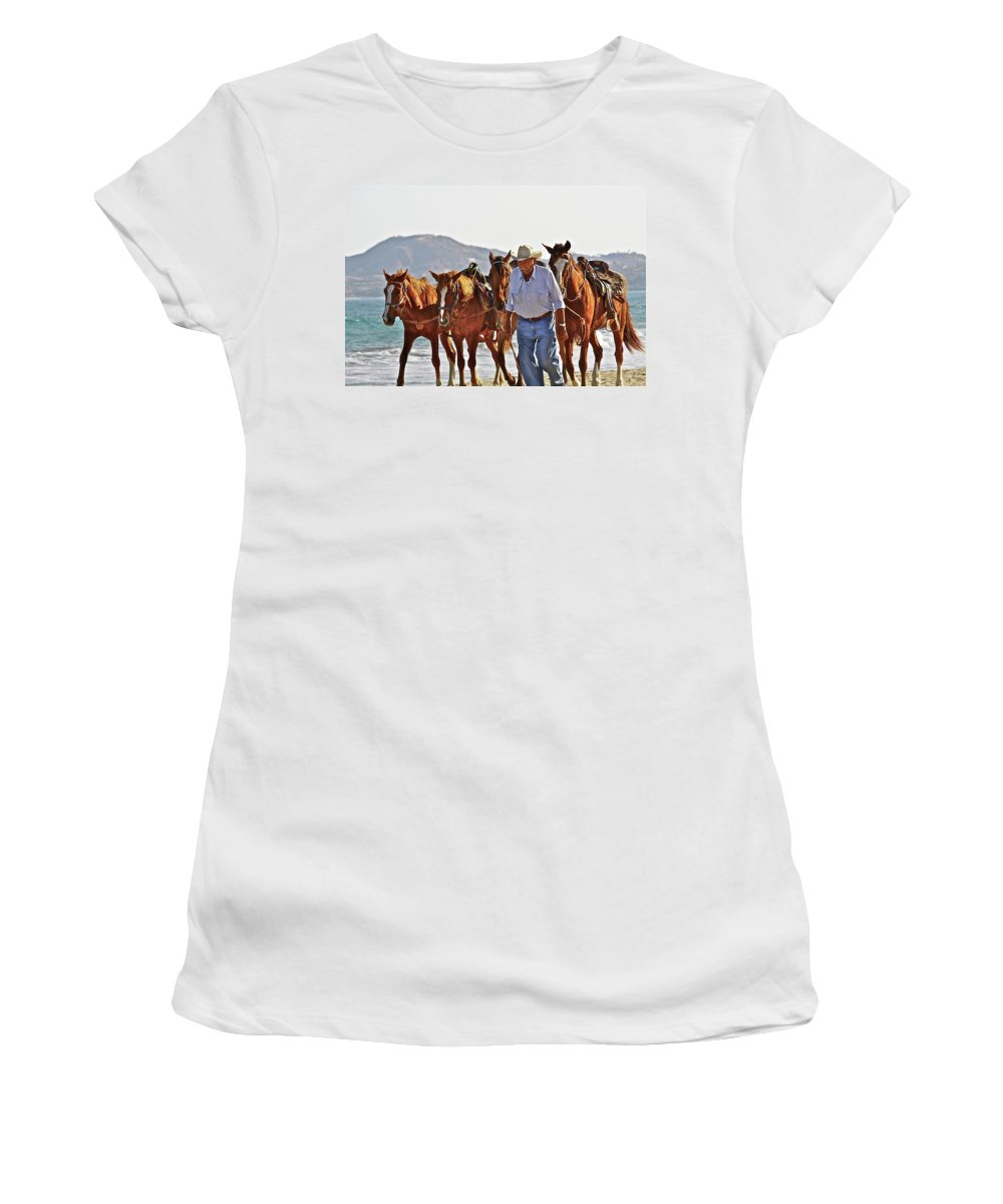 Animals Women's T-Shirt (Athletic Fit) featuring the photograph Hardworking Man by Diana Hatcher