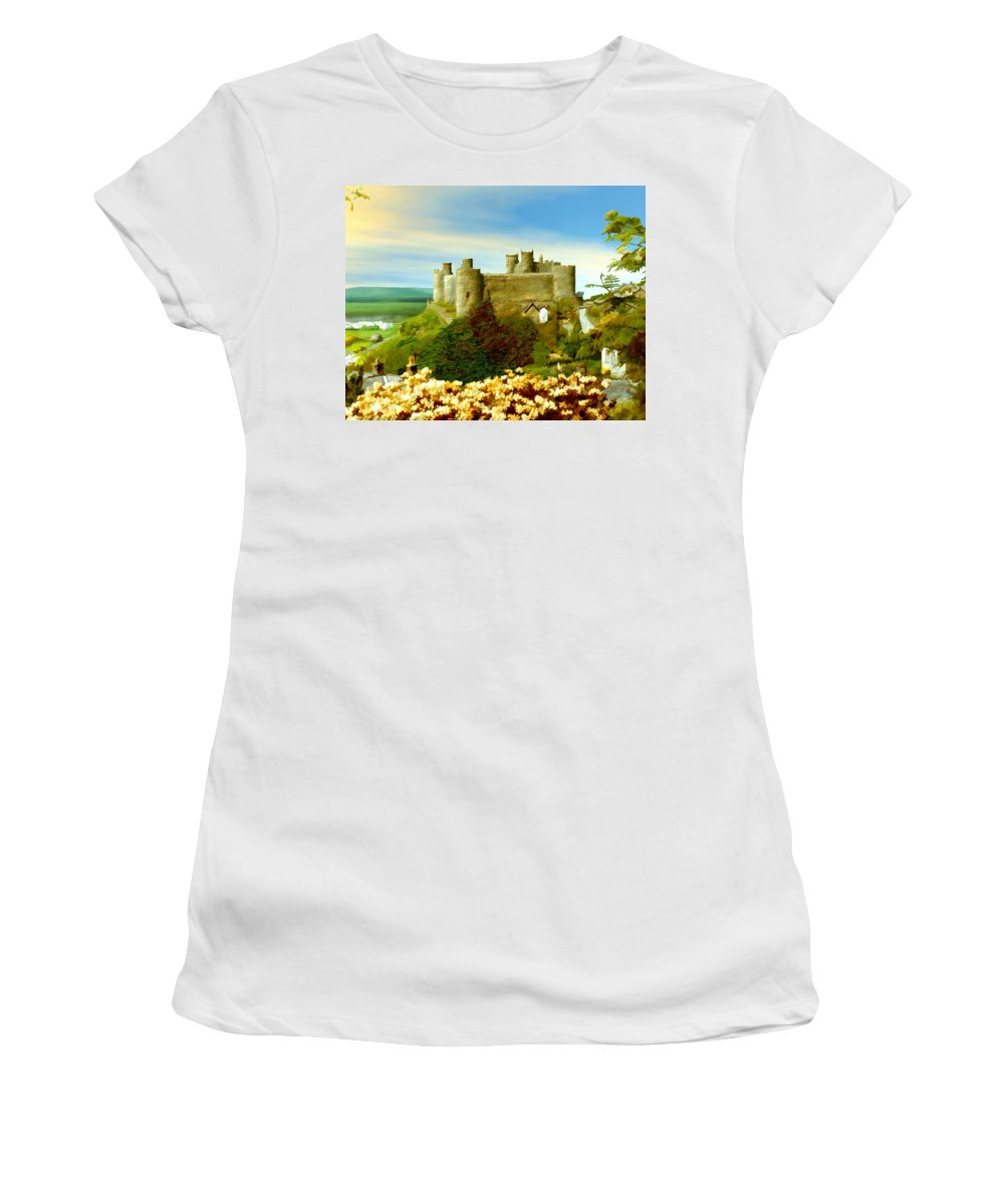 Castles Women's T-Shirt (Athletic Fit) featuring the photograph Harlech Castle by Kurt Van Wagner