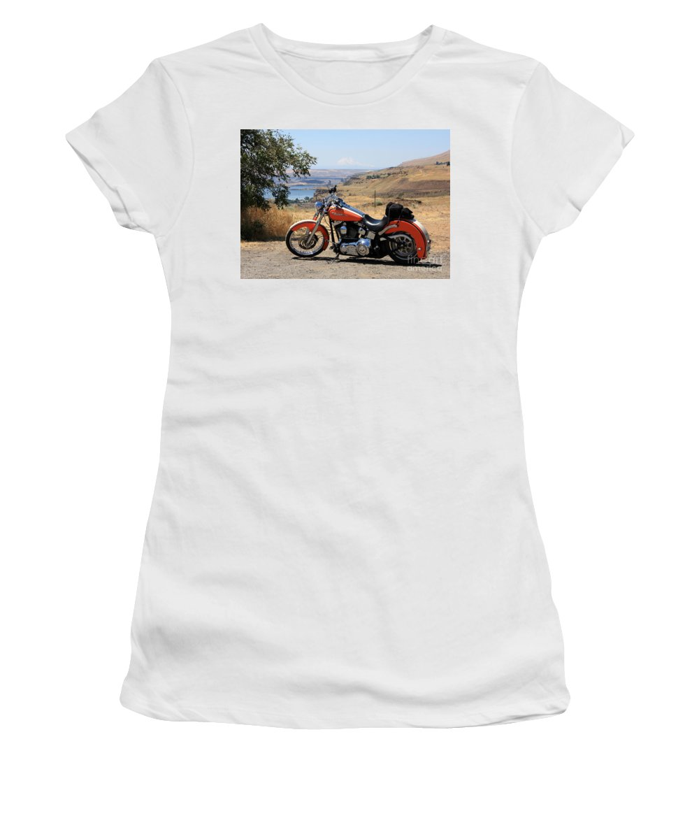 Washington State Women's T-Shirt (Athletic Fit) featuring the photograph Harley With Columbia River And Mt Hood by Carol Groenen