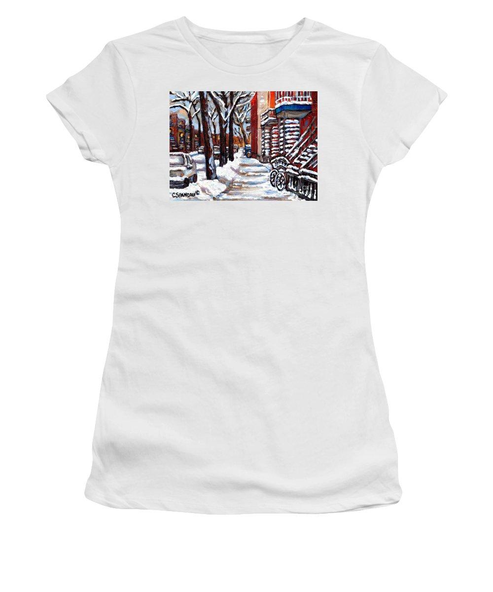 Original Montreal Paintings For Sale Women's T-Shirt featuring the painting Canadian Winter Scene Paintings Original Art Verdun Montreal Achetez Paysages De Quebec C Spandau by Carole Spandau