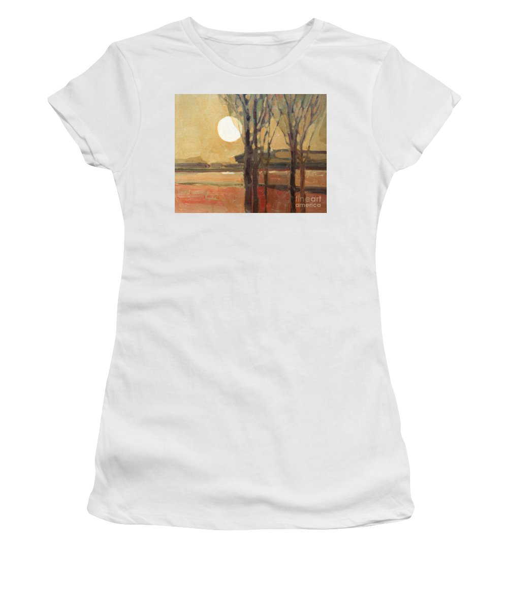 Sunset Women's T-Shirt (Athletic Fit) featuring the painting Harvest Moon by Donald Maier