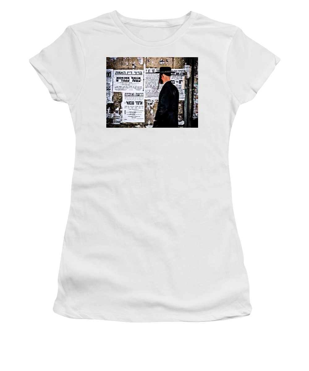 Israel Women's T-Shirt featuring the photograph Hasadic Jew Reading Pashkevilin by Bob Lynn